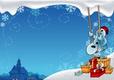 Snowy Christmas 8 - background illustration  with snowman