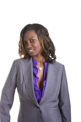 A beautiful young black woman in business suit