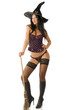 sexy and beautiful witch in underwear with hat and stocking