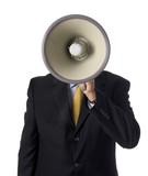 A business man, banker or preacher with a megaphone poster