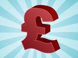British UK Pounds Currency symbol isometric illustration poster
