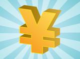 Yen currency japanese money symbol isometric illustration poster