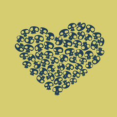 Heart shape made of small funny skulls