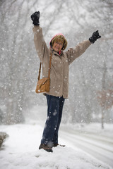 Mature woman in the snow.