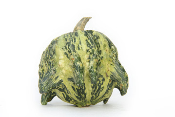 Close up of a pumpkin, an unusual variety. Isolated on white.