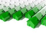 fine image 3d of green metaphor house background poster