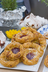 Danishes on a plate with meringue in the background 2