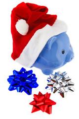 Weihnachtsmütze mit Sparschwein