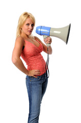 Portrait of young woman with megaphone