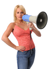 Attractive young woman with megaphone isolated over white