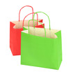 two shopping bags on white background
