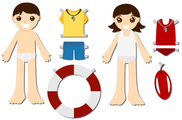 Paper Doll Kids - Lifeguards