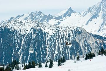 Gondola lift at  Courchevel ski resort, French Alps