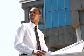 An African-American young urban professional architect