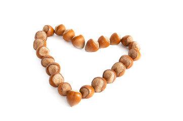 Nuts like as heart isolated on a white background.