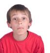 image of a questioning boy on white background