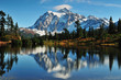 Reflection of Mt Shuksan on Picture Lake at Mount Baker..