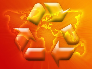 Recycling eco symbol illustration over world map