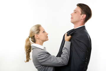 Conceptual image of business lady having fight
