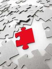 Jigsaw puzzle pieces on light background