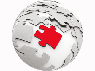 Jigsaw puzzle pieces on light background, concept