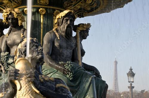 Leinwanddruck Bild Fontaine place de la Concorde