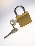 closed padlock with inserted keys on  light background poster