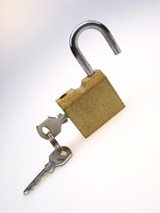 open hinged lock with inserted keys on  light background