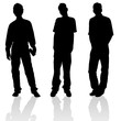 Three young males silhouette