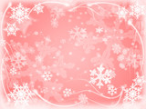 white snowflakes over pink background with feather corners