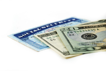 stock pictures of a social security card and money