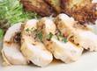 Stuffed chicken breast with potato rosti and gravy