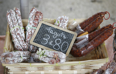 French saucisson display in market in south of france