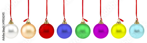 Colorful Christmas Balls isolated on white.