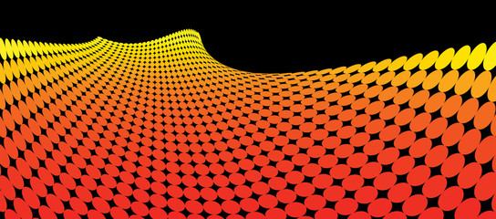 Abstract yellow, orange and red dots on black background