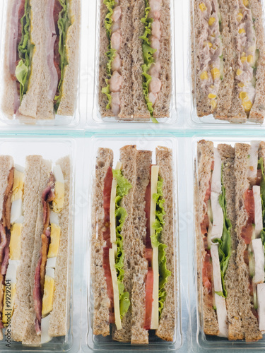 Selection Of Take Away Sandwiches In Plastic Triangles