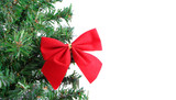 fake pine tree christmas border with red festive bow poster