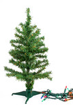 small fake green christmas tree waiting to be decorated poster