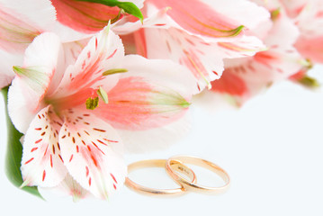 Bouquet of Alstroemeria and wedding rings on the white