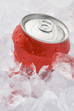 Red Can Of Fizzy Soft Drink Set In Ice