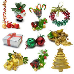 Christmas Objects sampler with clipping paths