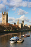 Houses of Parliament and boats on the Thames. London.