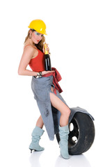 Attractive young sexy femme fatale with hard hat