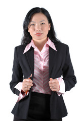 Chinese businesswoman, confident looks