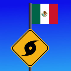 Hurricane sign and Mexican flag illustration