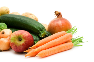 fresh vegetables on white background.