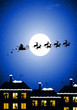 Santa Claus flying over the families in their houses