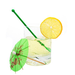 Fizzy drink in tumbler with umbrella