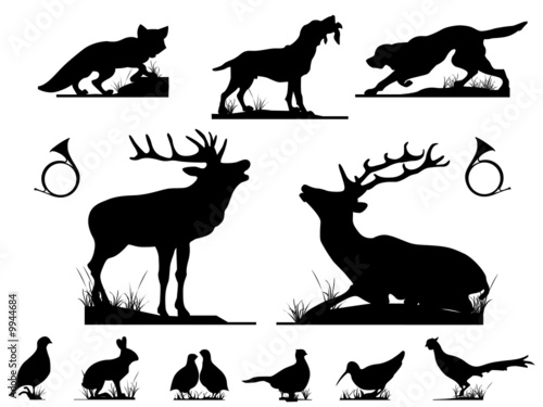 canvas print picture Gibier silhouettes