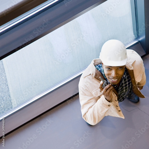 High angle view of construction worker in hard-hat